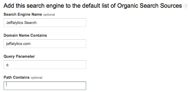 add a search engine to google analytics organic search sources