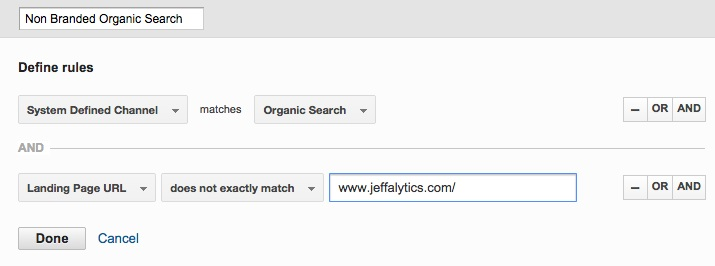 google analytics non branded organic search