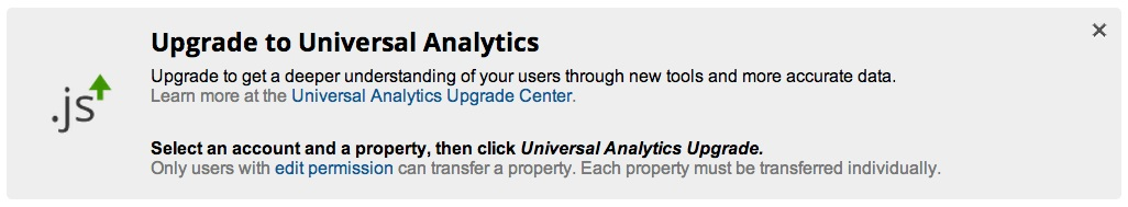 upgrade to universal analytics